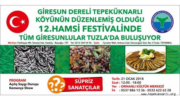 Tepeküknarlı Köyü 12. Hamsi Festivali 21 Ocak 2018'de Yapılacak